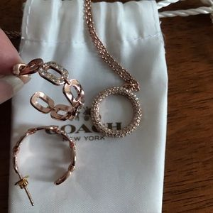 Coach rose gold earrings and necklace